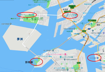 南港の地図(Google)