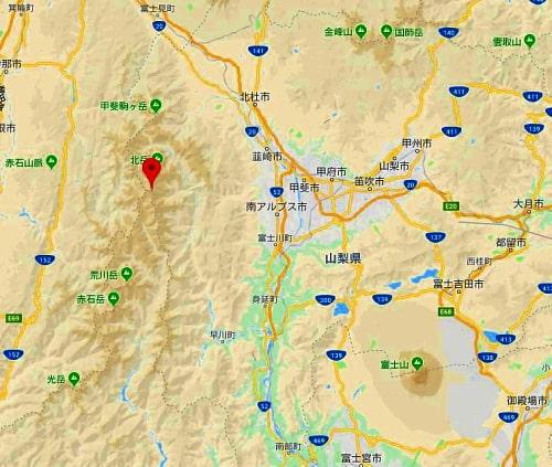 間ノ岳周辺GoogleMap