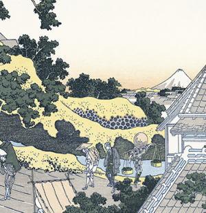 北斎の富嶽36景の一部引用