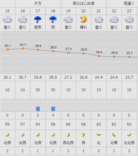 天気判断のデータ例